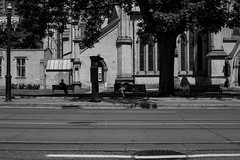 Benches (Aaron Allen Rogers Toronto) Tags: black white toronto urban city downtown people candid summer shadows trees nature concrete street road church brick bricks monotone person sleep