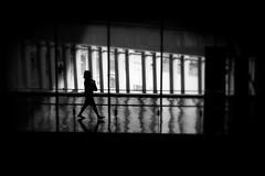 shimmer... (明遊快) Tags: light silhouette focus shadows contrast blur reflections building japan woman