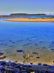 Looking towards Broulee island I (elphweb) Tags: hdr highdynamicrange nsw australia seaside sea ocean water beach sand sandy brouleeisland island rock rocks rockformation