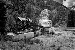 Marble Quarry Ruins-80B8 (Scott Sanford Photography) Tags: 4x4 6d canon colorado ef2470f28l eos expedition exploring ghosttown marble mountains naturallight outdoor overland stone topazlabs roadtrip travel trip vacation blackandwhite bw monochrome explore