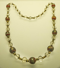 Necklace from Roman Egypt 30 - 337 CE with distinctive glass beads with male faces (mharrsch) Tags: necklace jewelry gold beads crystal shell faces roman egypt 1stcenturyce 2ndcenturyce 3rdcenturyce artinstituteofchicago chicago illinois mharrsch