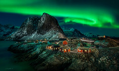 Green Village. (darklogan1) Tags: lofoten norway artic nightphotography longexposure logan darklogan1 night texture water landscape sky green aurora northern lights stars sony canon ocean mountain hamnoy reine cabins canonef1635mmf4l sonyilce7rm2 snow nordland