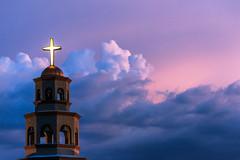 Rolling Skies (Carl Cohen_Pics) Tags: clouds sky sunset sunlakes chandler church blue purple pink cross belltower summer