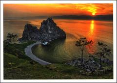 postcard - from DiaNaa, Russia (Jassy-50) Tags: postcard postcrossing russia lakebaikal lake sunset rock tree water shamanrock okltonisland island unescoworldheritagesite unescoworldheritage unesco worldheritagesite worldheritage whs beach