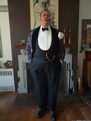 Plaid Dinner Jacket May 2018 (Gutzvillier) Tags: dinnerjacket tuxedo cigar cocktail smoking tasselloafers pocketsilk pocketwatch watchchain waistcoat bowtie gentleman dandy fop formal