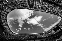 München2018-011Allianzarena (schulzharri) Tags: stadion arena munich bavaria bayern deutshland germany fusball soccer football sport building architecture sky roof himmel dach wolken clouds sun sonne