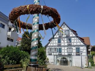 GEMANY, Fachwerkhaus mit Maibaum im Remstal, 76467/10474