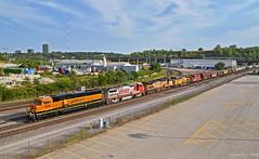 "Northbound Transfer in Kansas City, MO (""Righteous"" Grant G.) Tags: bnsf railway railroad locomotive train trains transfer yard job emd ge up union pacific midwest mwlx atsf santa fe north northbound"