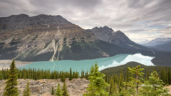 Peyto Lake (Canon Queen Rocks (2,193,000 + views)) Tags: lake glacierlake greens emerald mountainside mountains mountain trees tree forest clouds landscape landscapes lakes nature nationalpark jasper icefieldsparkway hiking sky scenery scenic august summer peytolake momentsbycelinecom canada calm serene