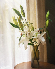 Lilies in the Window (lclower19) Tags: artistaimpressopro ai lilies flora painterly stilllife white green window