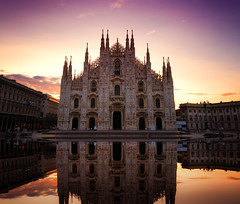 Double the Duomo (Pat Charles) Tags: milan milano lombardy lombardia italy italia italian duomo church cathedral catholic dawn sunrise bluehour symmetry reflection reflected reflections architecture architectural city urban exploration tripod nikon outside outdoors outdoor travel tourism europe backlight backlit contrejour 1001nights 1001nightsmagiccity