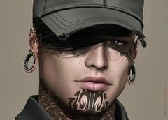 - self portrait - (kes.myas) Tags: meshavi man male tattoo hat sexy secondlife handsome catwa swallow
