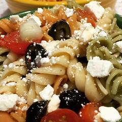 Italian Pasta Salad with Feta cheese and garden veggies.... (steamboatwillie33) Tags: food summer salad pasta italian colddish recipe dinner simpleandeasy oldrecipe homemade kitchen blackolives gardenveggies 2018