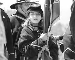 Union Flag Bearer (Black and White) (Kevin MG) Tags: kids young youth cute little adolescent adorable handsome blackandwhite blackwhite bw monochrome reinactment costumes fortmacarthur sanpedro uniform union civilwar