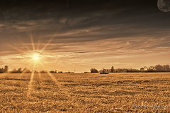 The Day After Tomorrow (Bradley Bishop) Tags: photography photooftheday hdrphotography sun sunset sunsets twilight nikon nikond3200 d3200 tiffin ohio amateur amateurphotography landscape landscapes field fields clouds moon monochrome farm bradleybishop
