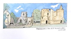 Ruins Minster Lovell Hall (15thC) and St Kelelms Church Oxfordshire (oxlade134) Tags: eglise kirche church ruins sketch pen ink watercolour oxfordshire england