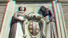Museum Gouda 3D (wim hoppenbrouwers) Tags: museum gouda 3d anaglyph stereo redcyan poort gate relief