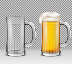 Vector realistic illustration of two transparent glass mugs - one full of beer with foam, the other is empty. (edmcopias2018) Tags: beer glass vector beverage drawing drawn illustration cup empty pint isolated full transparent realistic alcohol mug one foam stout tall drink background lager cool ale gold bar pub restaurant traditional collection design festival fresh froth german menu object oktoberfest set symbol bubbles closeup cold drop frosty light refreshment yellow
