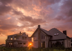 A sunset on the construction site (* mariozysk *) Tags: sunset construction site budowa domy zachód słońca polska poland clouds chmury kolorowy colorful sky niebo