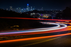 trailing edge (pbo31) Tags: sanfrancisco california city nikon d810 color night urban black august 2018 summer boury pbo31 lightstream traffic roadway motion skyline bernalheights over view bike social ride trail group red