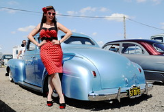 Holly_2183 (Fast an' Bulbous) Tags: classic custom car vehicle automobile people outdoor pinup model girl woman hot sexy chick babe long brunette hair red dress high heels stockings nylons