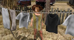 Here is the question, I wear Bikini or Naked ? (Enju 's Jewelry box) Tags: sl secondlife summer nude female 2018 genesis outdoor naked laundry drying rope tanktop clothes peg