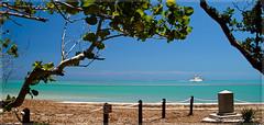 A view from Bill Baggs Cape Florida. (Aglez the city guy ☺) Tags: hotday trees tropical urbanexploration billbaggscape seashore seascape sea park beachscape beach miamifl keybiscayne yacht