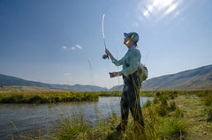 Fly Fishing 1600 (nevadoyerupaja) Tags: creek girl usa portrait fish outdoors flyfishing summer wyoming refuge marymorganbeavers flatcreek