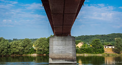 2018 - Hungary - Mohács - Batina-Bezdan Bridge (Ted's photos - For Me & You) Tags: 2018 cropped mohács nikon nikond750 nikonfx tedmcgrath tedsphotos vignetting bridge river danuberiver danube reflection waterreflection blue bluesky