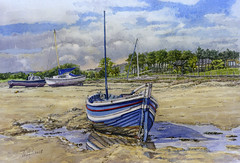 The 'Gracie B', Alnmouth, Northumberland . (jeff smith 55) Tags: alnmouth coble northumberland landscape seascape coastal watercolour mixedmedia