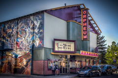 The Orpheum Theater (donnieking1811) Tags: arizona flagstaff orpheumtheater theater building architecture signs mural painting art exterior sky blue trees hdr canon 60d lightroom photomatixpro