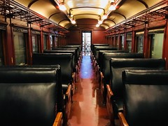 The glory days of travel...(*EXPORE*) (avilacats) Tags: warmlight perspective railroadpassengercar illinoisrailroadmuseum