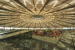 Embark under the Flying Ceiling (Eye of Brice Retailleau) Tags: angle beauty composition perspective scenic view backpacking city architecture bâtiment indoor indoors light inside arch arche bus station asia asie china chine shanghai urban