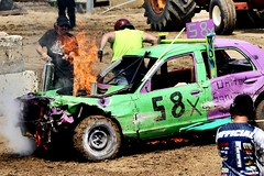 Fire!!! (Laurence's Pictures) Tags: boone county fair belvidere illinois state show animal politican tractor 2018 demolision demolition derby cars race auto automobile america crash junk racing nascar em up