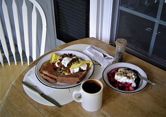 Breakfast on my Front Porch (Dennis Peatee) Tags: sixpoplars porchlife farmersporch coffee strawberry omelette sausage toast goatcheese yogurt blueberry