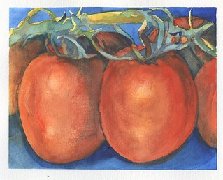 Vine Tomatoes- -Van Gogh Watercolor on Hahnemühle Expression