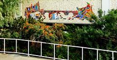 HFF! Mural of the Pied Piper of Hamelin (+1) (peggyhr) Tags: peggyhr mural piedpiperofhamelin fence trees shrubs wall royalalexandrahospital hff green white orange red blue yellow dsc01498az edmonton alberta canada wallmosaic thegalaxy super~sixbronze☆stage1☆ frameit~level01~ thegalaxystars thegalaxylevel2