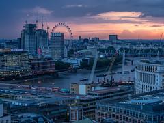 As dusk approaches (ceeko) Tags: 2018 england london londoneye olympusem1ii riverthames stpaulscathedral boats skyline unitedkingdom blackfriarsbridge