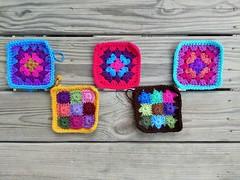 Five new five-inch rehabbed crochet squares (crochetbug13) Tags: crochet crocheted crocheting crochetbug crochetsquares grannysquares crochetblanket crochetafghan crochetthrow