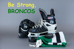 Strength In Tragedy (jah32) Tags: hockey icehockey skates ccm tacks winnwell pucks hockeypucks puck hockeypuck sock hockeysocks humboldtbroncos bestrongbroncos tape hockeytape humboldt saskatchewan canada tribute memorial