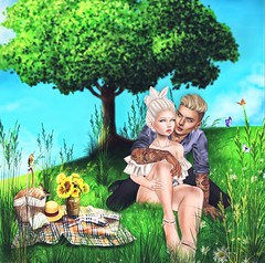 It Takes Two Flints To Make A Fire (akashiy) Tags: secondlife couple picnic summer love green yellow butterfly flowers tree birds relax