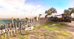 Come Away With Me (sinvictta) Tags: bike secondlife landscape beach ocean sand grass trees car jeep rocks waves clouds bicycle bicyclette mere sable birds