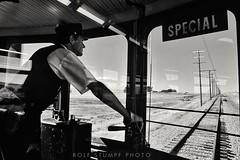 Going back to Rio Vista Jct (rolfstumpf) Tags: usa califonia riovistajct westernrailwaymuseum interurban railway railroad motorman rails streetcar bayarea monochrome blackwhite blackandwhite bnw telegraph poles tracks