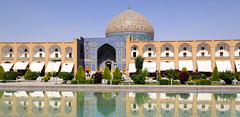 Shah Square or Imam square with Masjed Sheikh  Lotfollah, Isfahan, Iran (Elena14u2012) Tags: iran isfahan imamsquare mosque masjed islam pond dome