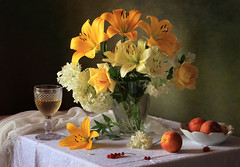 Still Life with Lilies and Yellow Roses (Tatyana Skorokhod) Tags: stilllife lilies yellowroses peaches fruit wine decor indoors