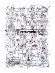 terror protection/ Terrorschutz (Ines Seidel) Tags: newspaper news protection terror word text altered paper hamsa khamsa handofthegoddess handoffatima zeitung zeitungspapier nachrichten tz papier nähen machinestitching hand eye auge schutz symbol fullmoon protective energy