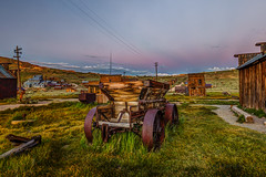 Wooden Ore Cart & Belt of Venus (Jeffrey Sullivan) Tags: old wooden ore cart abandoned bodie state historic park wild west ghost town night photography workshop canon eos 6d digital photo copyright 2018 jeff sullivan july 7 beltofvenus sunset bluehour photomatix hdr