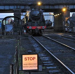 Great Central Railway Loughborough Leicestershire 5th March 2017 (loose_grip_99) Tags: greatcentral railway railroad rail train loughborough leicestershire eastmidlands england uk steam engine locomotive southern n15 460 777 30777 sirlamiel preservation transportation gassteam uksteam trains railways shed mpd depot night sign march 2017