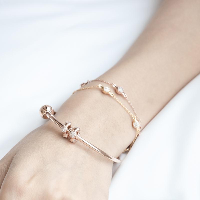 PANDORA Pandora rose golden love pods Bracelet 587354CZ Tanabata gifts fashion accessories female