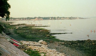 Now that it's mid summer, I become nostalgic for summers in my teens. A view of Long Island Sound at low tide from the Morningside seawall to the Villa Rosa mansion in the distance. Note all the small boats and people wading. Milford Connecticut. Aug 1974